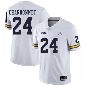Michigan Wolverines #24 Zach Charbonnet Men's White College Football Jersey 256782-360