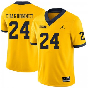 Michigan Wolverines #24 Zach Charbonnet Men's Yellow College Football Jersey 252654-559