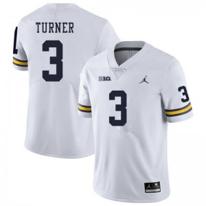 Michigan Wolverines #3 Christian Turner Men's White College Football Jersey 571604-589