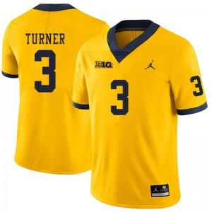 Michigan Wolverines #3 Christian Turner Men's Yellow College Football Jersey 908866-732
