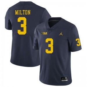 Michigan Wolverines #3 Joe Milton Men's Navy College Football Jersey 416647-354