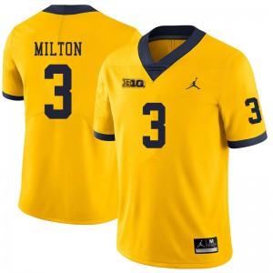 Michigan Wolverines #3 Joe Milton Men's Yellow College Football Jersey 954087-245