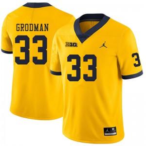Michigan Wolverines #33 Louis Grodman Men's Yellow College Football Jersey 668094-421