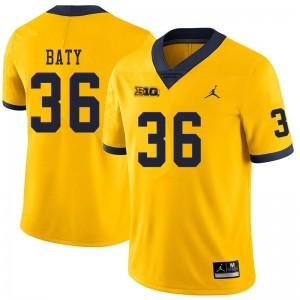 Michigan Wolverines #36 Ramsey Baty Men's Yellow College Football Jersey 436010-515