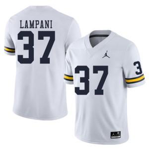 Michigan Wolverines #37 Jonathan Lampani Men's White College Football Jersey 640662-978