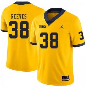 Michigan Wolverines #38 Geoffrey Reeves Men's Yellow College Football Jersey 153095-698