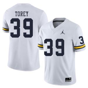 Michigan Wolverines #39 Matt Torey Men's White College Football Jersey 694605-692