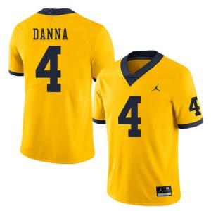 Michigan Wolverines #4 Michael Danna Men's Yellow College Football Jersey 379873-478