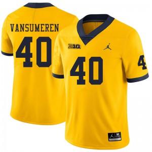 Michigan Wolverines #40 Ben VanSumeren Men's Yellow College Football Jersey 482051-298