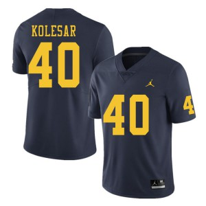 Michigan Wolverines #40 Caden Kolesar Men's Navy College Football Jersey 554565-611