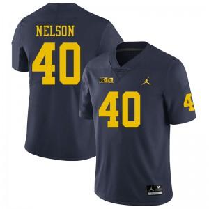 Michigan Wolverines #40 Ryan Nelson Men's Navy College Football Jersey 801483-468