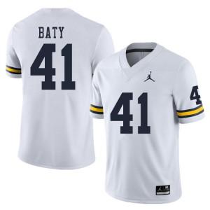Michigan Wolverines #41 John Baty Men's White College Football Jersey 643677-177