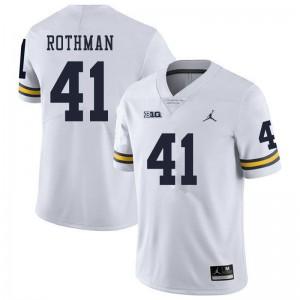 Michigan Wolverines #41 Quinn Rothman Men's White College Football Jersey 285746-983