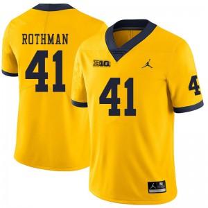 Michigan Wolverines #41 Quinn Rothman Men's Yellow College Football Jersey 384188-472