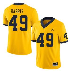 Michigan Wolverines #49 Keshaun Harris Men's Yellow College Football Jersey 521946-431