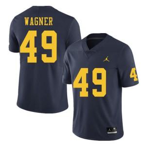 Michigan Wolverines #49 William Wagner Men's Navy College Football Jersey 576374-480