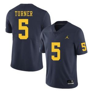 Michigan Wolverines #5 DJ Turner Men's Navy College Football Jersey 966275-188