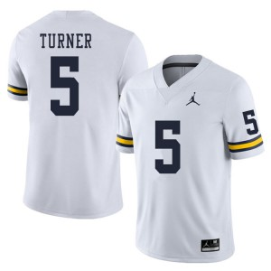 Michigan Wolverines #5 DJ Turner Men's White College Football Jersey 288549-848