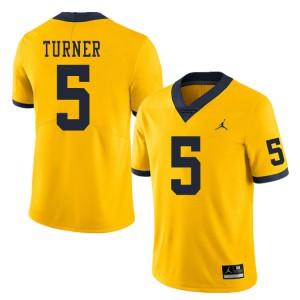 Michigan Wolverines #5 DJ Turner Men's Yellow College Football Jersey 998329-850