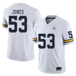 Michigan Wolverines #53 Trente Jones Men's White College Football Jersey 281099-610