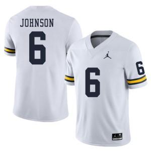 Michigan Wolverines #6 Cornelius Johnson Men's White College Football Jersey 254072-486