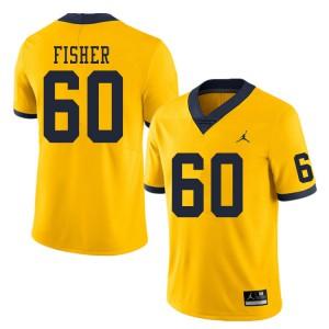 Michigan Wolverines #60 Luke Fisher Men's Yellow College Football Jersey 121759-926