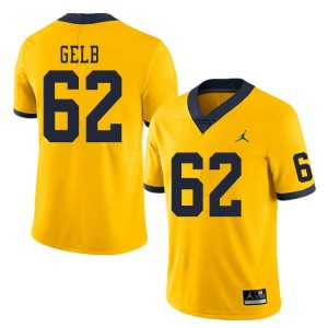 Michigan Wolverines #62 Mica Gelb Men's Yellow College Football Jersey 383382-908