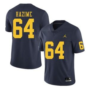 Michigan Wolverines #64 Mahdi Hazime Men's Navy College Football Jersey 422925-979