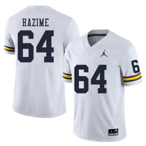 Michigan Wolverines #64 Mahdi Hazime Men's White College Football Jersey 762014-708