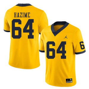 Michigan Wolverines #64 Mahdi Hazime Men's Yellow College Football Jersey 931898-377