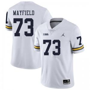Michigan Wolverines #73 Jalen Mayfield Men's White College Football Jersey 428866-622