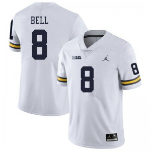 Michigan Wolverines #8 Ronnie Bell Men's White College Football Jersey 251332-608