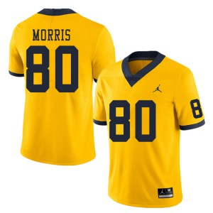 Michigan Wolverines #80 Mike Morris Men's Yellow College Football Jersey 873481-931