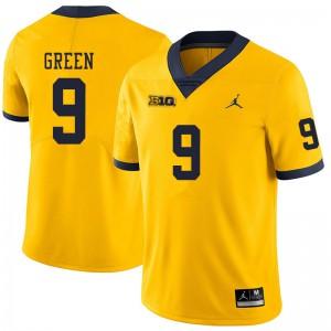 Michigan Wolverines #9 Gemon Green Men's Yellow College Football Jersey 925364-556