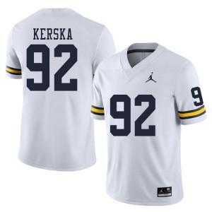 Michigan Wolverines #92 Karl Kerska Men's White College Football Jersey 858123-297