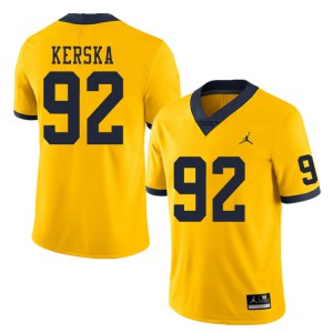 Michigan Wolverines #92 Karl Kerska Men's Yellow College Football Jersey 642882-654