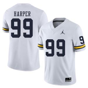 Michigan Wolverines #99 Trey Harper Men's White College Football Jersey 945783-210