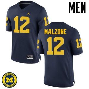 Michigan Wolverines #12 Alex Malzone Men's Navy College Football Jersey 773486-851