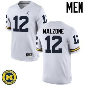 Michigan Wolverines #12 Alex Malzone Men's White College Football Jersey 437304-802
