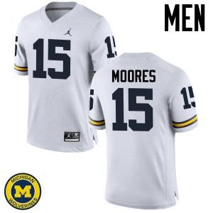 Michigan Wolverines #15 Garrett Moores Men's White College Football Jersey 484572-751