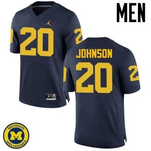 Michigan Wolverines #20 Drake Johnson Men's Navy College Football Jersey 250103-388