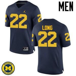 Michigan Wolverines #22 David Long Men's Navy College Football Jersey 688655-494