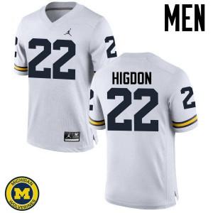 Michigan Wolverines #22 Karan Higdon Men's White College Football Jersey 724277-594
