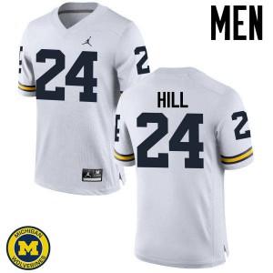 Michigan Wolverines #24 Lavert Hill Men's White College Football Jersey 568541-923