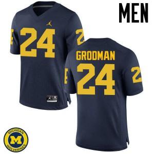 Michigan Wolverines #24 Louis Grodman Men's Navy College Football Jersey 643701-605