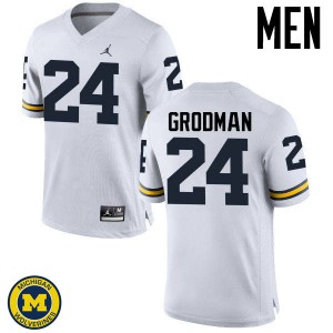 Michigan Wolverines #24 Louis Grodman Men's White College Football Jersey 263229-628