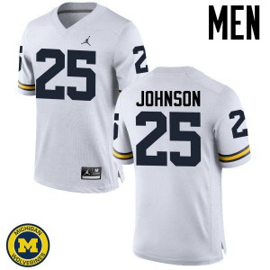 Michigan Wolverines #25 Nate Johnson Men's White College Football Jersey 249718-895