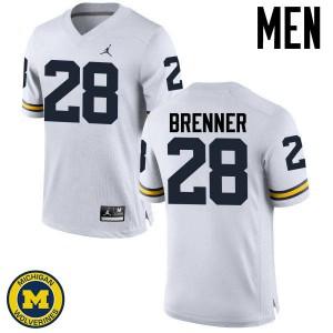 Michigan Wolverines #28 Austin Brenner Men's White College Football Jersey 829169-951
