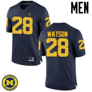 Michigan Wolverines #28 Brandon Watson Men's Navy College Football Jersey 446602-570