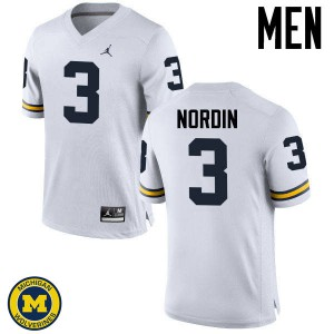 Michigan Wolverines #3 Quinn Nordin Men's White College Football Jersey 686071-355